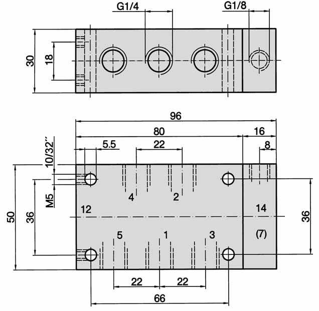 5/2- and 5/3-way, G 1/4, Dimensions for series -510, -511 3 1 = pressure inlet 2, 4 =