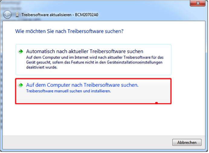 Windows 7 erkennt und installiert den USB-/Bluetooth dongle in aller Regel automatisch.