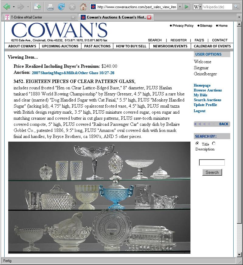 Abb. 2007-4/155 Auktion Milk Glass Sammlung Chiarenza 2007, Cowan s, Lot 3452,.
