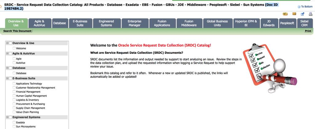 Service Request Data Collection SR Data