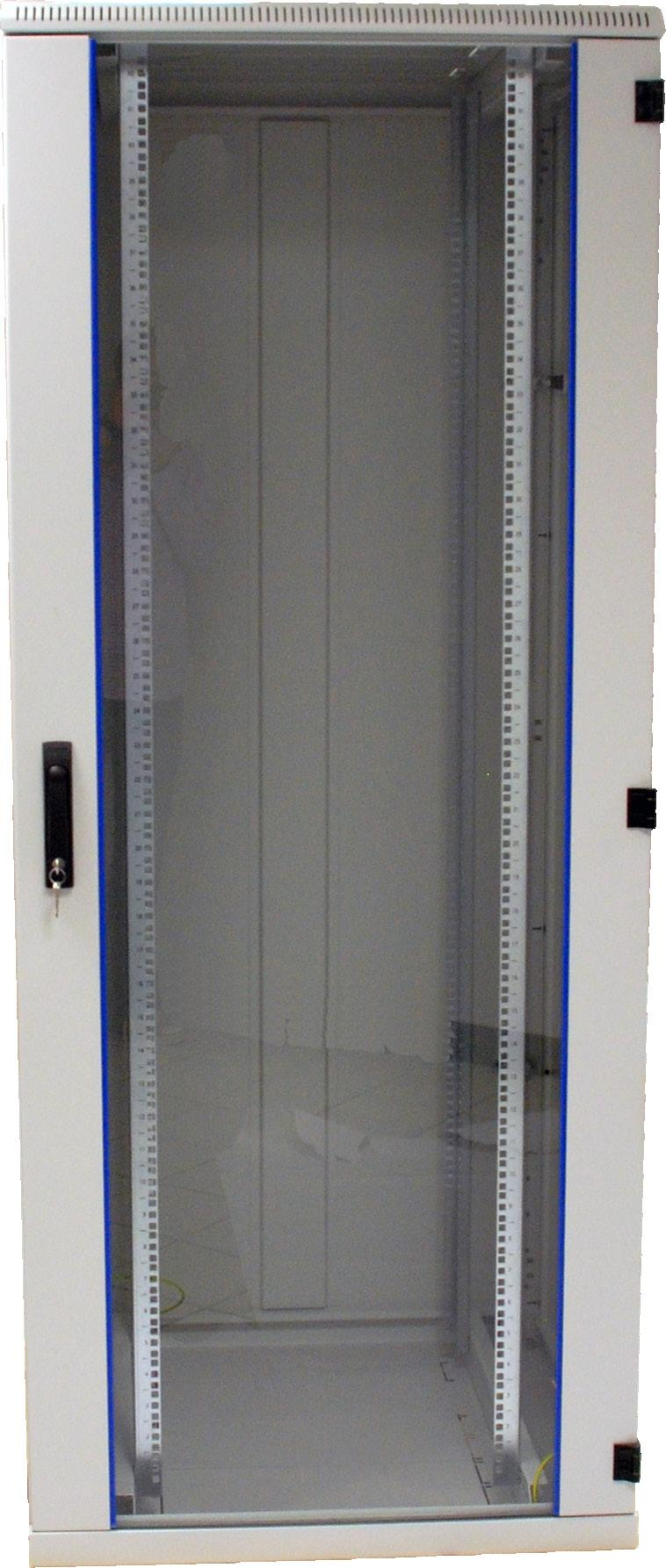 depth-adjustable 19 profiles with numbering of rack units rear door in full height with 2-point latch locking Common Specifications 19 network cabinet according to DIN41494 Steel sheet housing with