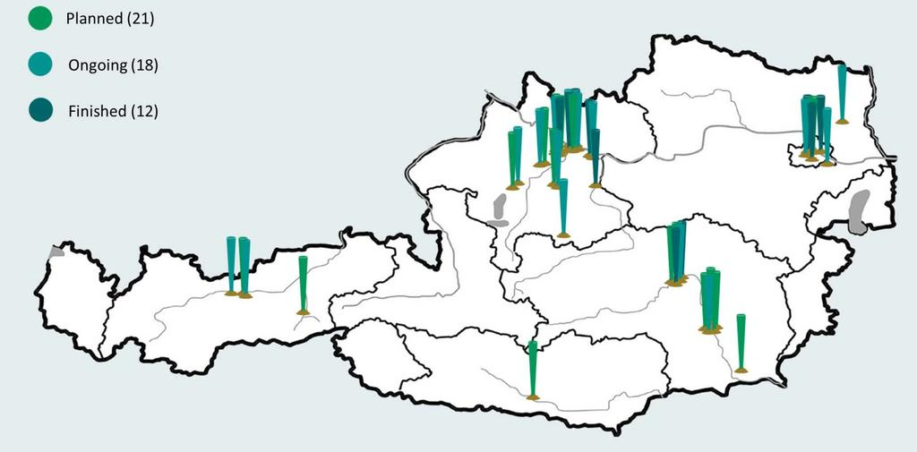 Energy Model Region WIVA P&G Geographical location of the sub-projects of WIVA P&G all over Austria Source: Energieinstitut an der JKU Linz 21 planned