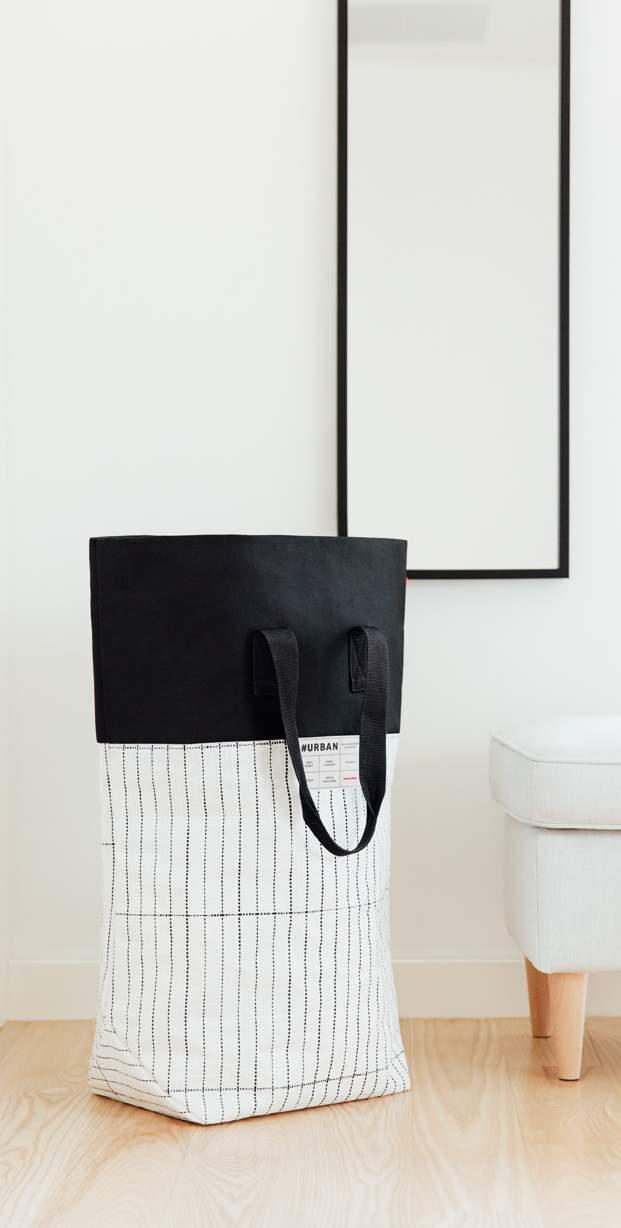 #urban laundry tokyo 55 x 68 x 23 cm 60 l VE/UNIT 2/12 Geräumiger Wäschekorb in Taschenoptik Große Öffnung 2 komfortable Tragegriffe Spacious laundry basket that looks like a bag