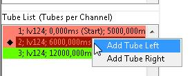 Fig.5 Tube Analyzer LogViewer channel and tube lists Using the mouse right-click, the user can load channels and tubes in the graph display.