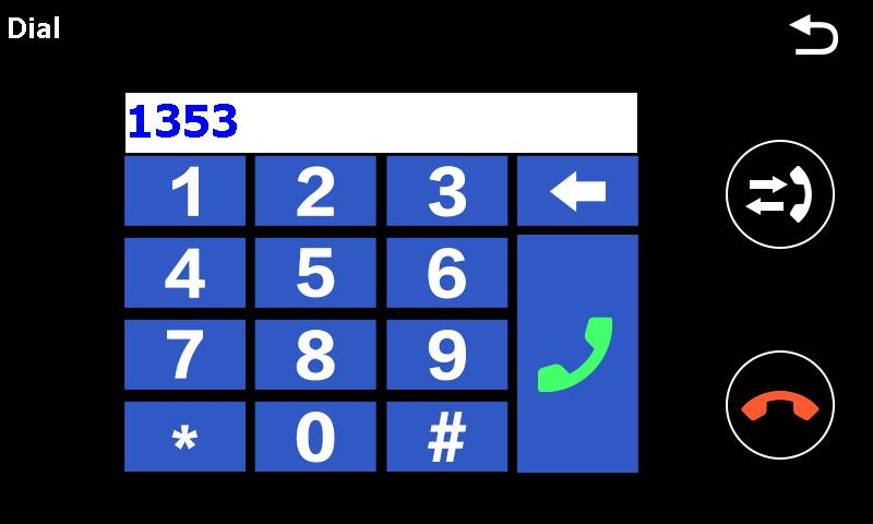 3. Dial Tap on the numbers and start the call with klick on green phone icon. Attention! As long as a call is active, the voice of the caller is output via the loudspeaker of your TravelPilot.