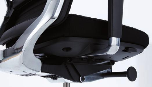 Casing in polished aluminium - Synchronised movement from seat and backrest in a ratio 1:3 No shirt pull out effect - Additional negative pelvic seat tilt -4 - Adjustable tension control of the