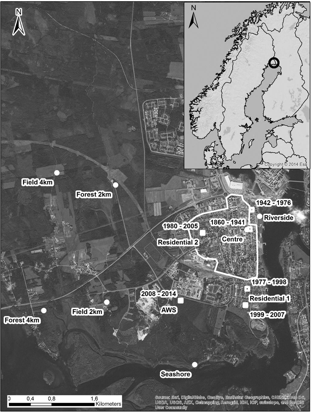 Removing the relocation bias from the 155-year Haparanda temperature record Figure 4-1 Meteorological station (white squares) and sensor locations (white dots) in Haparanda.