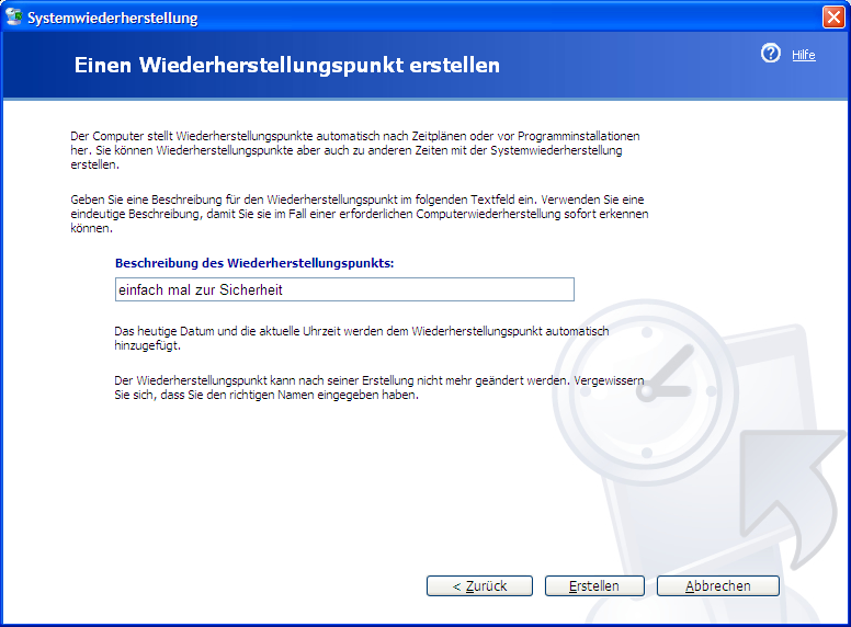 Windows XP Systemwiederherstellungspunkt