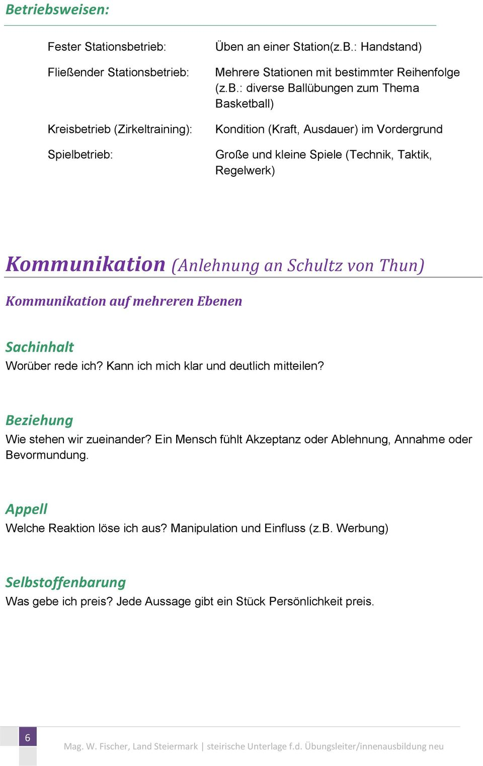 Methodik Kommunikation Motivation Trainingseinheit Modellstunde ...