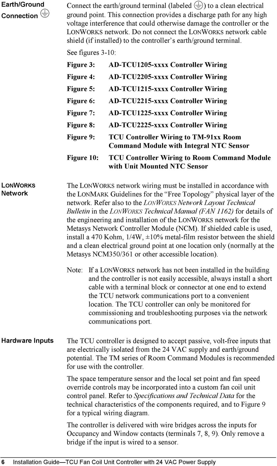 Tcu Fan Coil Unit Controller Pdf Ez Wiring Diagram Do Not Connect The Lonworks Network Cable Shield If Installed To S