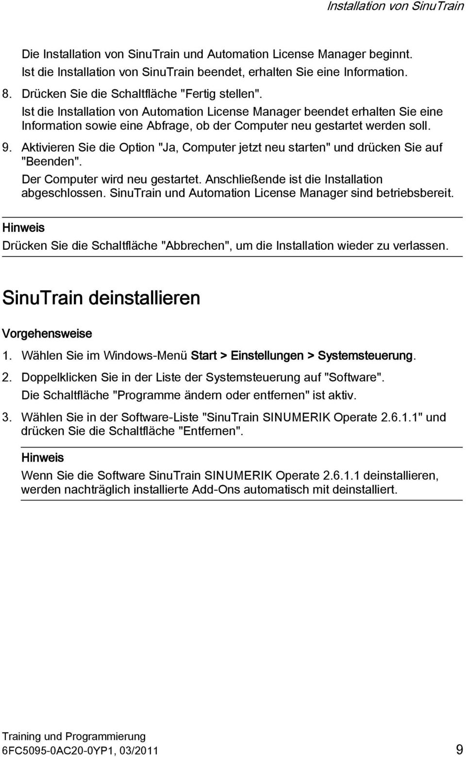 SINUMERIK SinuTrain SINUMERIK Operate Training und