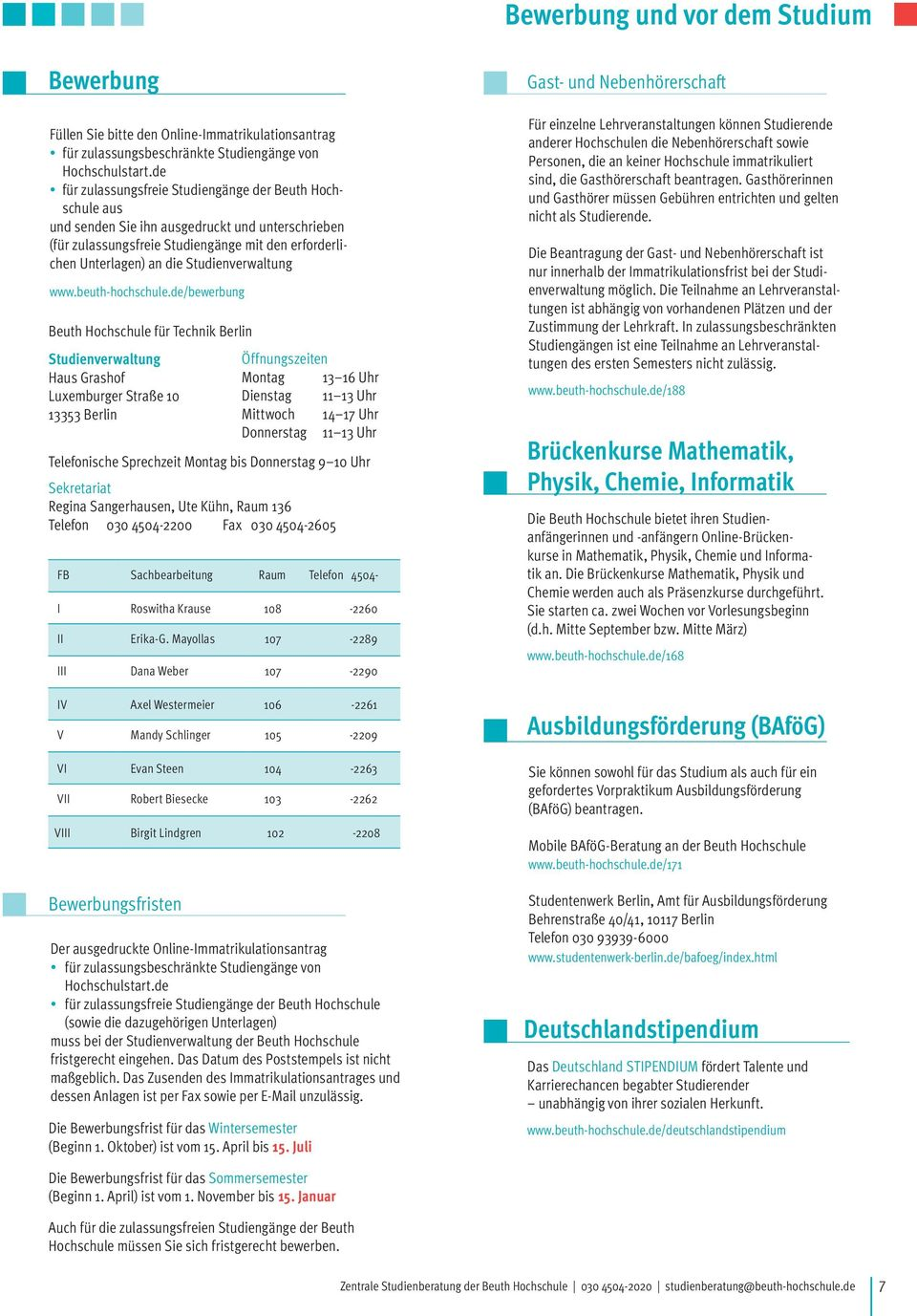 Admission Application Beuth Hochschule 4