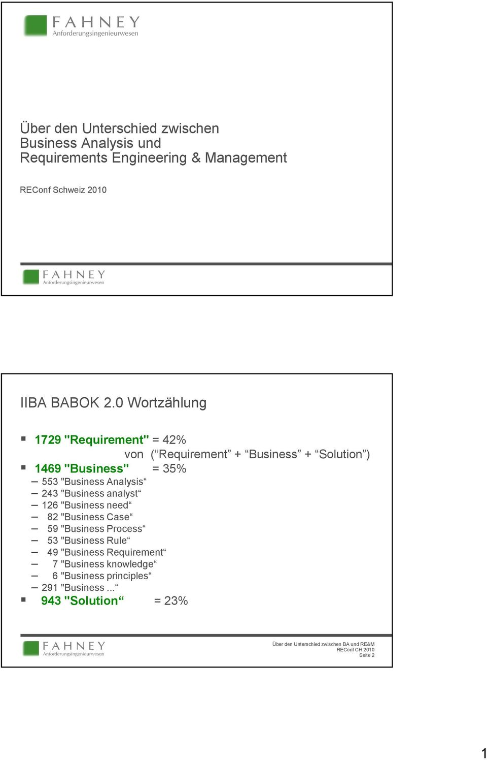 "0 Wortzählung 1729 ""Requirement"" = 42% von ( Requirement + Business + Solution ) 1469 ""Business"" = 35% 553"