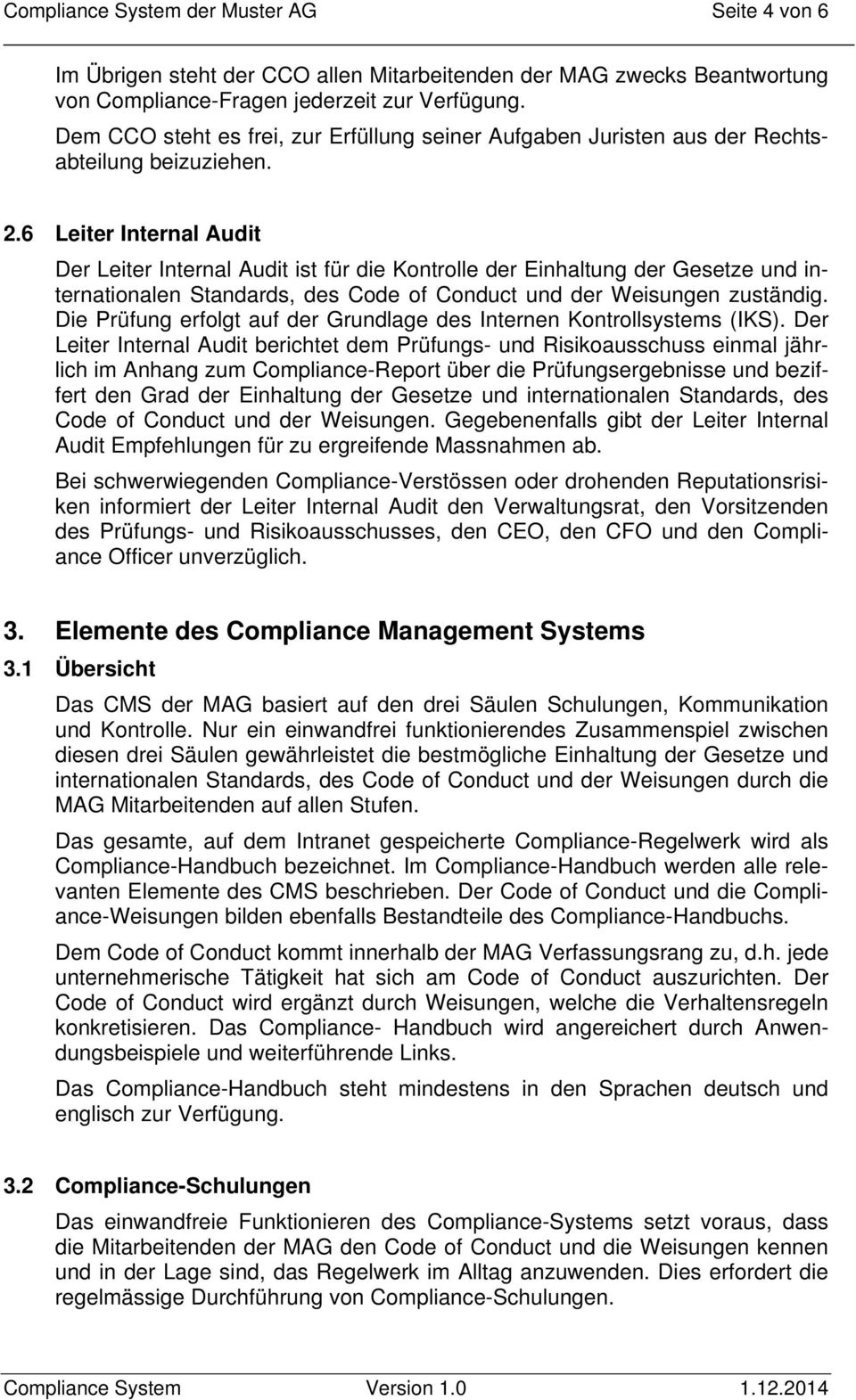 Compliance Management System Der Muster Ag Pdf Free Download