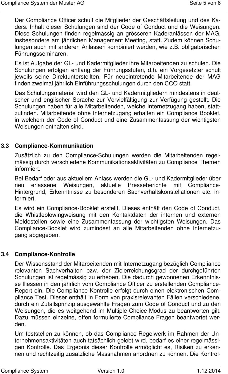 Compliance Management System Der Muster Ag Pdf Free Download 4