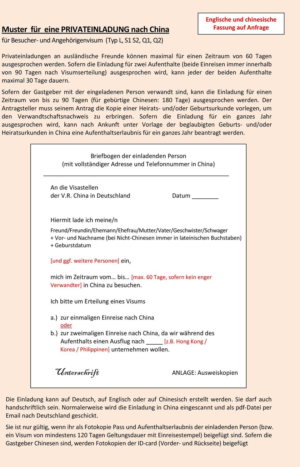China Visum Antragsformulare Pdf