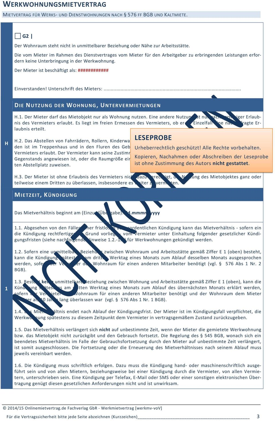 Werkwohnungsmietvertrag Vollversion Pdf