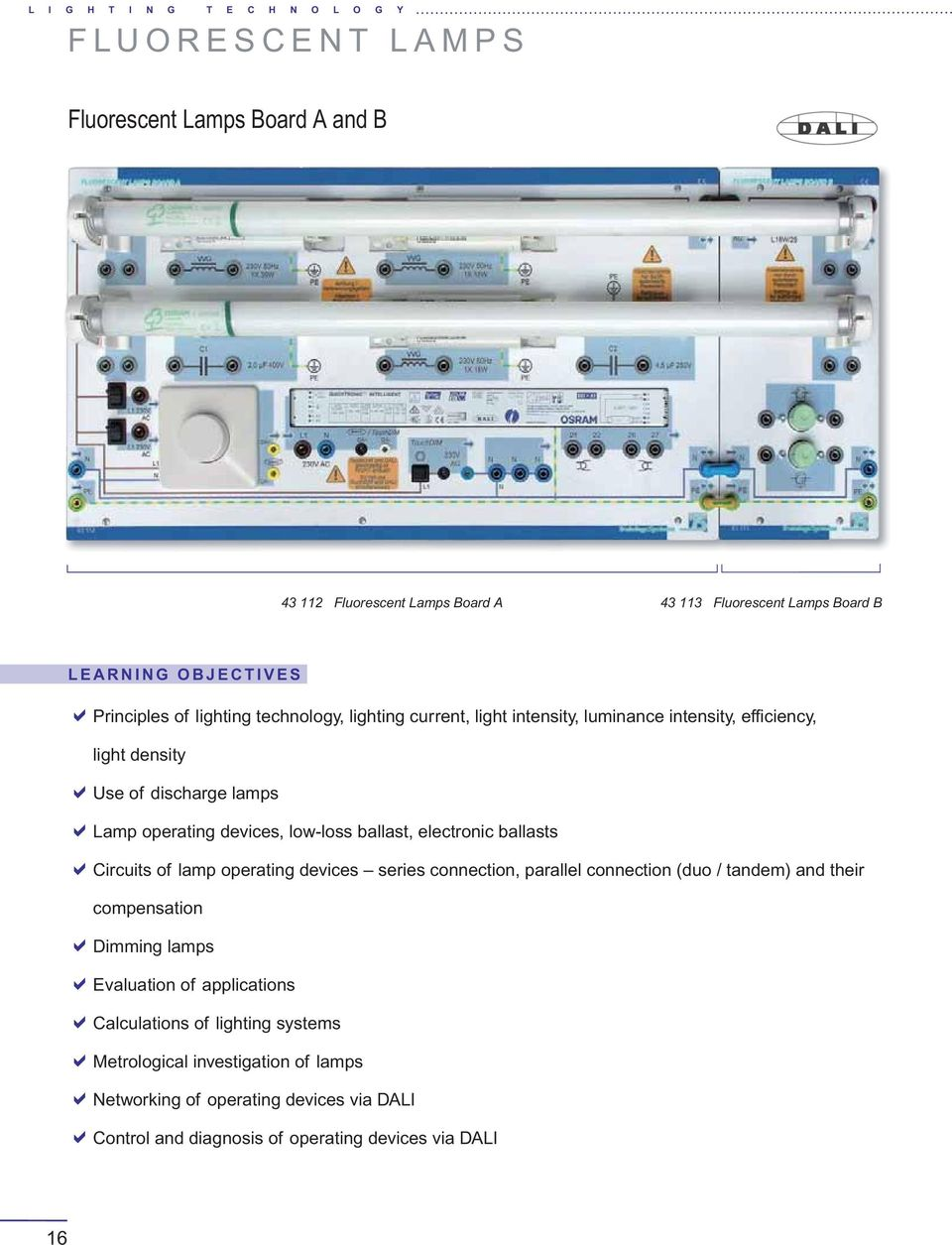 Elabotrainingssysteme Aus Und Weiterbildung Gmbh Installation Lamp Circuit Boardenergy Saving Boardled Board Low Loss Ballast Electronic Ballasts Circuits Of Operating Devices Series Connection Parallel