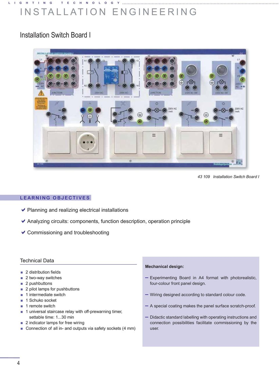 Elabotrainingssysteme Aus Und Weiterbildung Gmbh Installation Two Way Switch With Indicator Pushbuttons 1 Intermediate Schuko Socket Remote Universal Staircase Relay Off