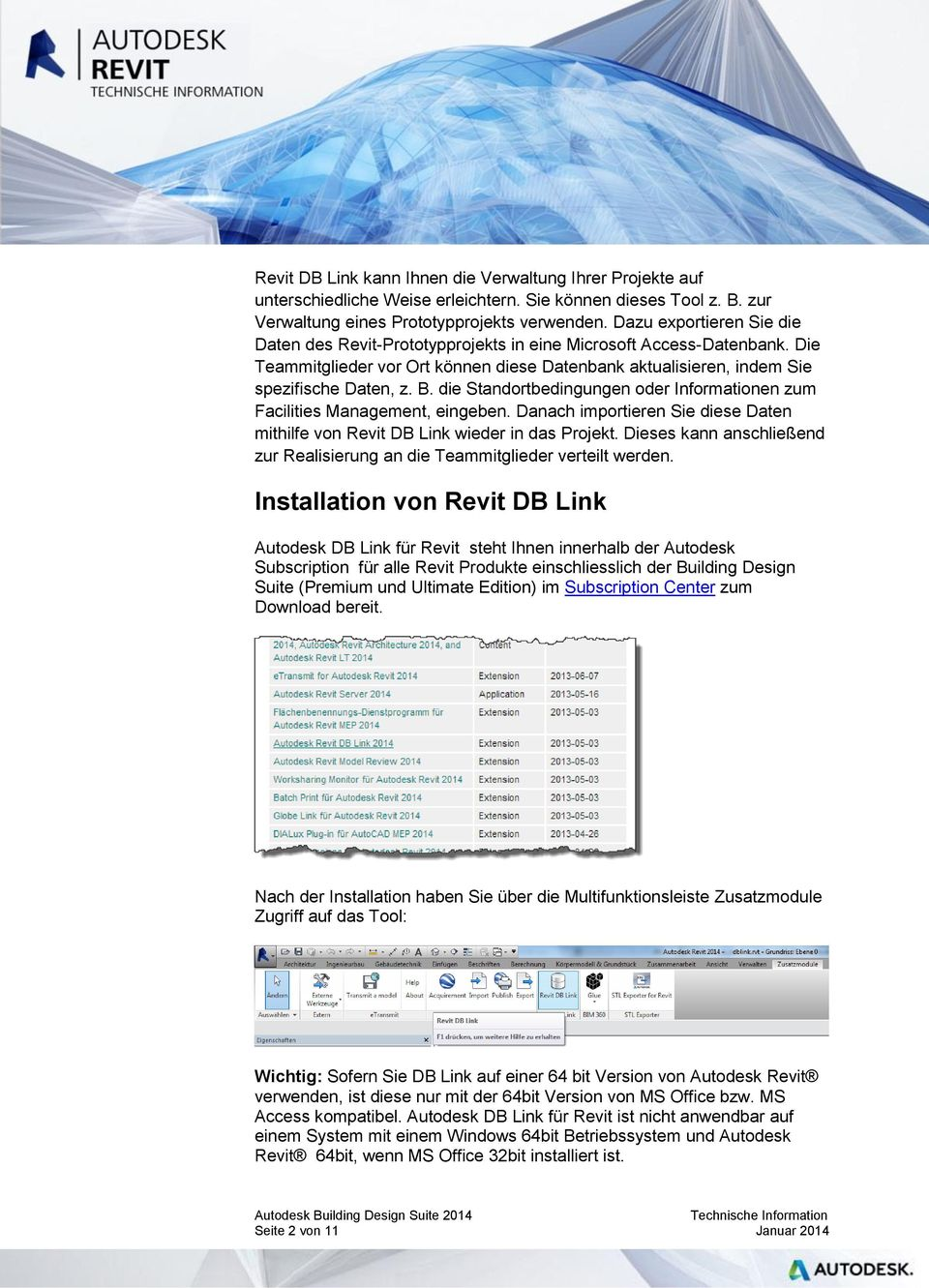 Installation von Revit DB Link - PDF