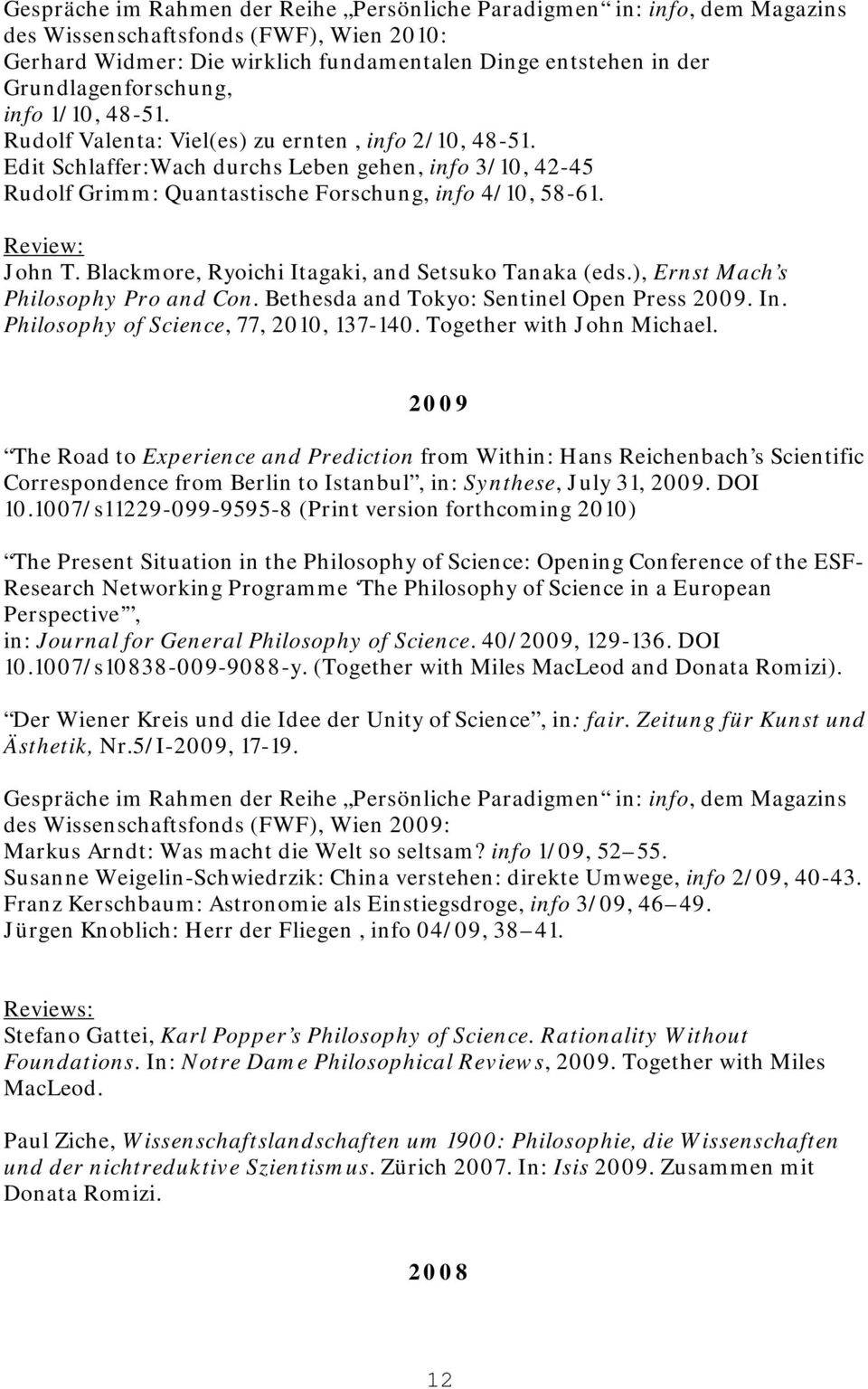 CURRICULUM VITAE (Long Version) Current as of January FRIEDRICH ...