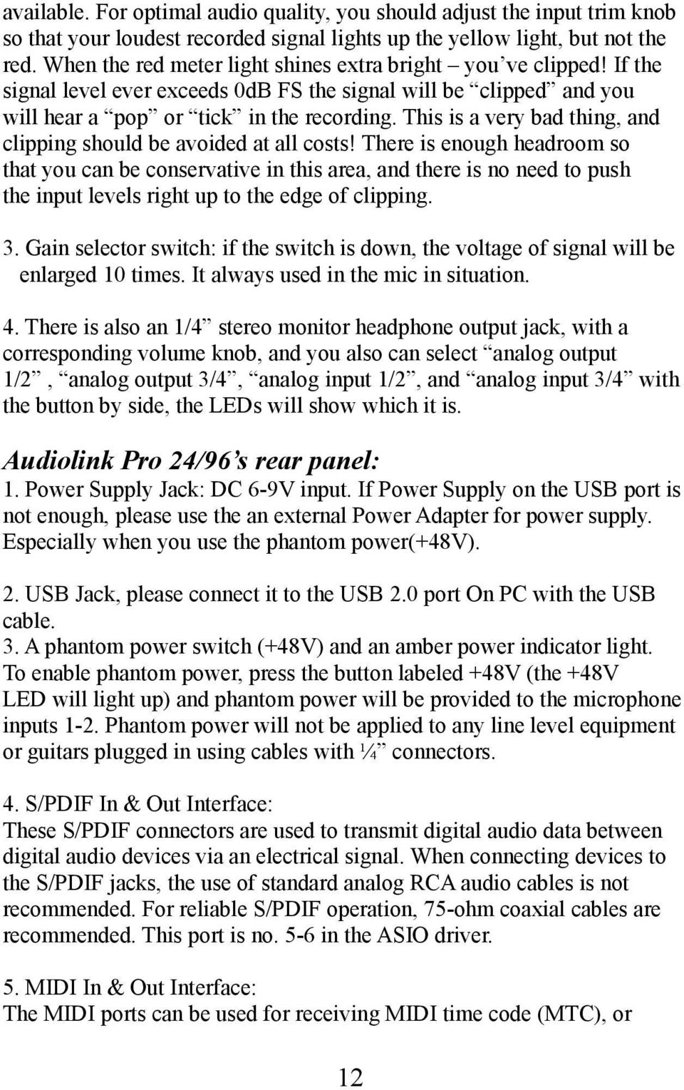 Miditech Audiolink Pro 24 96 Pdf Wiring A 1 4 Out Put Jack This Is Very Bad Thing And Clipping Should Be Avoided At All Costs