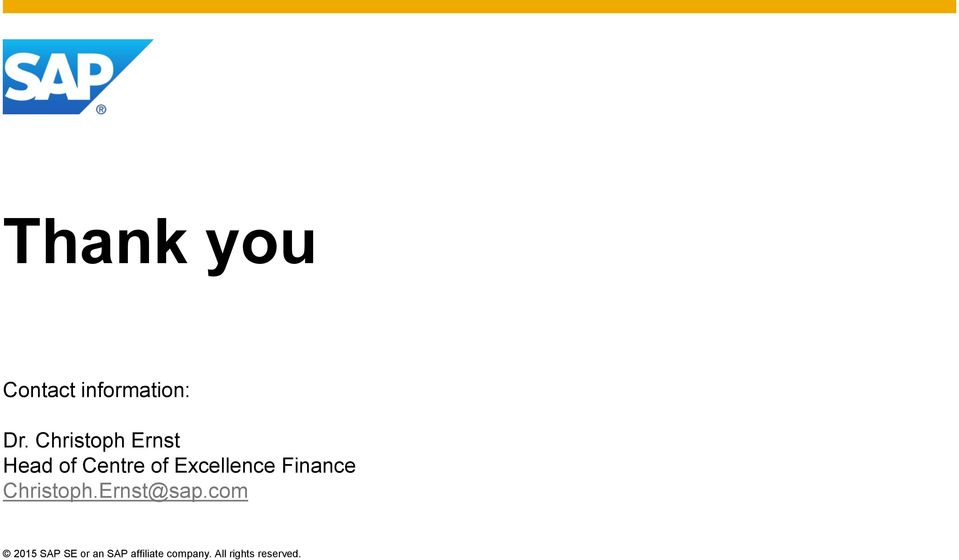 Excellence Finance Christoph.Ernst@sap.