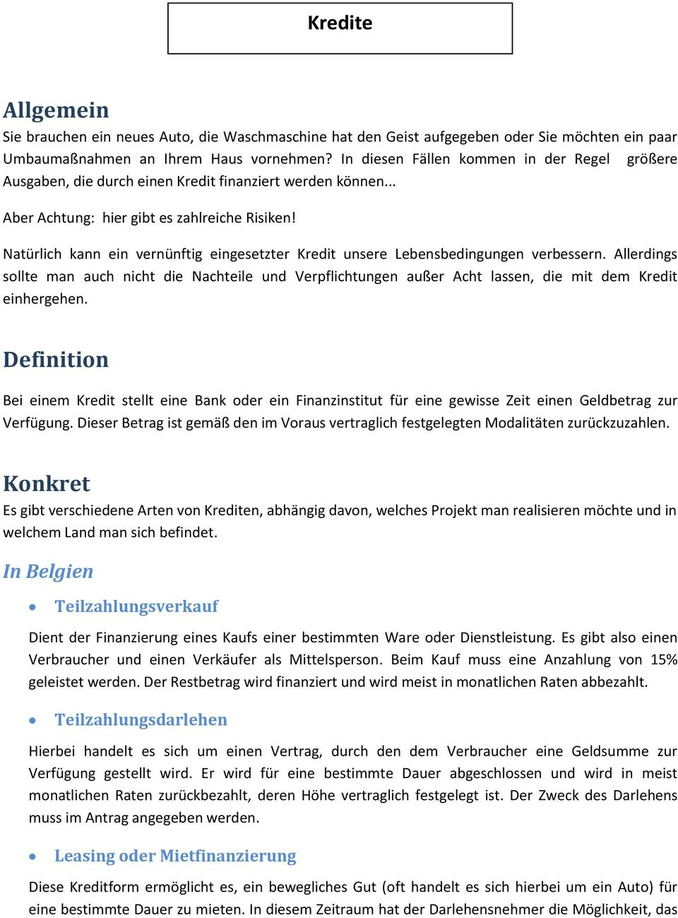 Allgemein Definition Konkret Kredite In Belgien