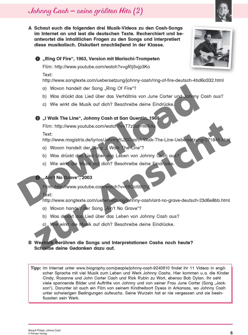 DOWNLOAD. Johnny Cash Klasse. Margrit Philipp. Abwechslungsreiches ...