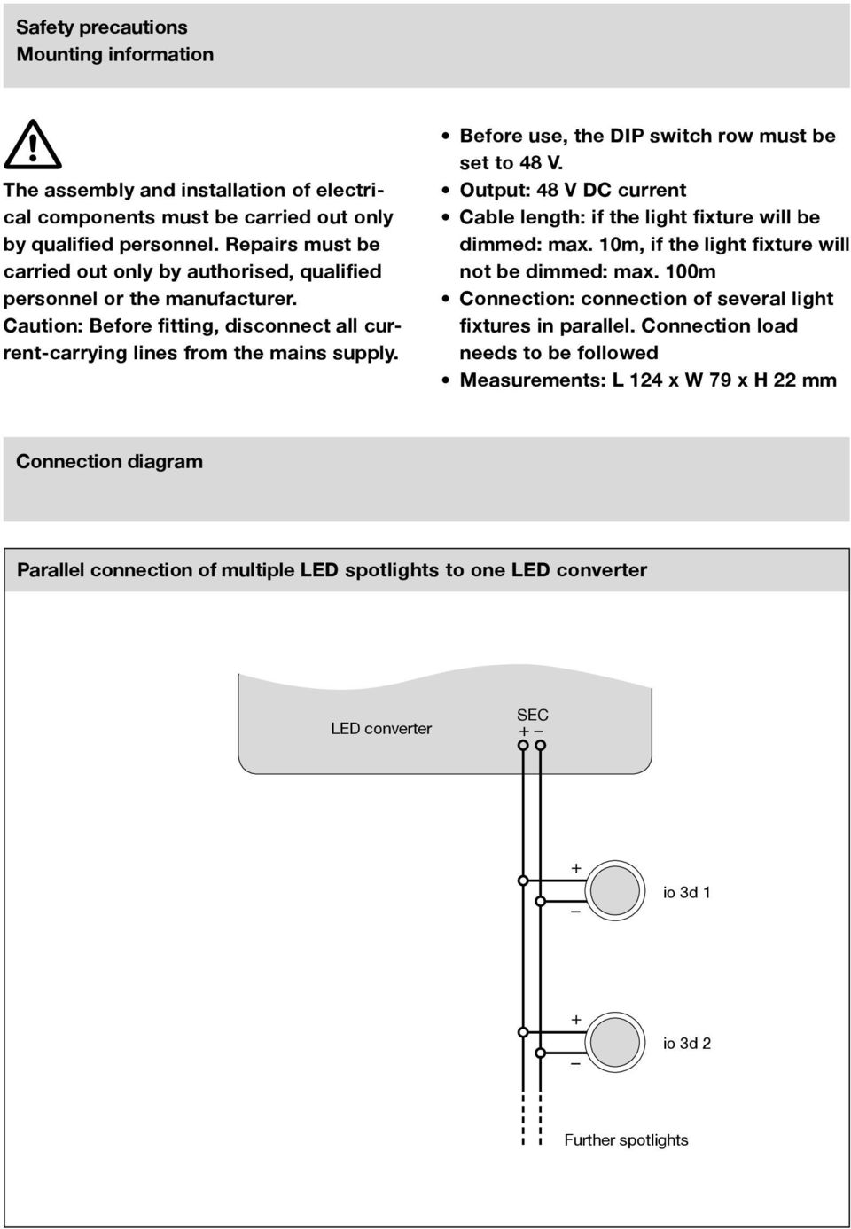 Led Konverter Anschlussschemata Converter Connection Diagrams Dc Dimmer Switch Wiring Diagram Before Use The Dip Row Must Be Set To 48 V Output 11