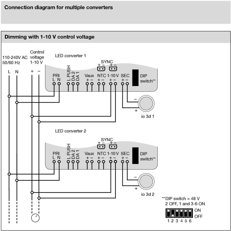 Led Konverter Anschlussschemata Converter Connection Diagrams Dali Wiring Diagram V Ntc 1 10 2 Dip Switch