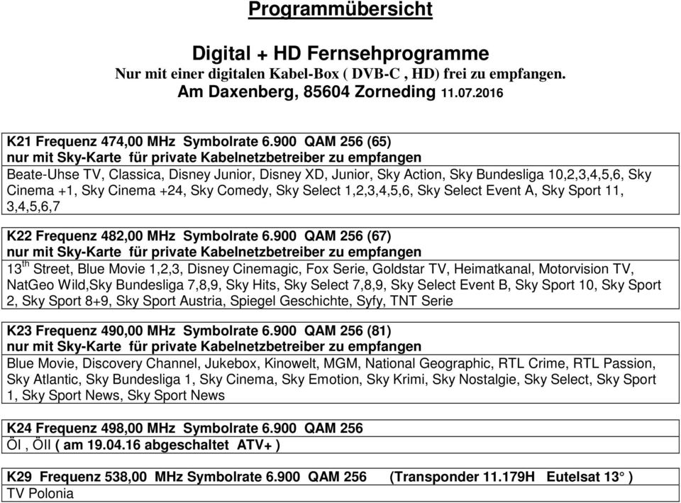 Programmubersicht S25 Frequenz 338 00 Mhz Symbolrate Qam 256 Arte Hd Ard Hd Swr Bw Hd Sw Rp Hd Pdf Free Download