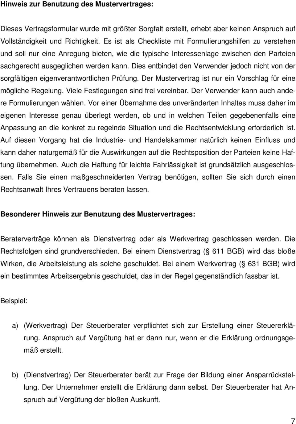 Muster Eines Beratervertrages Pdf