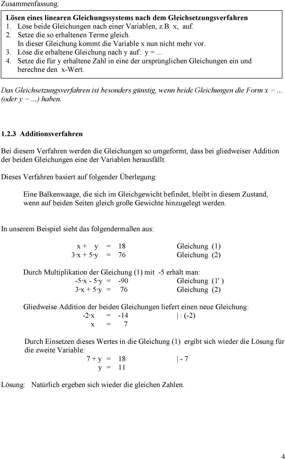 Lineare Gleichungssysteme - PDF