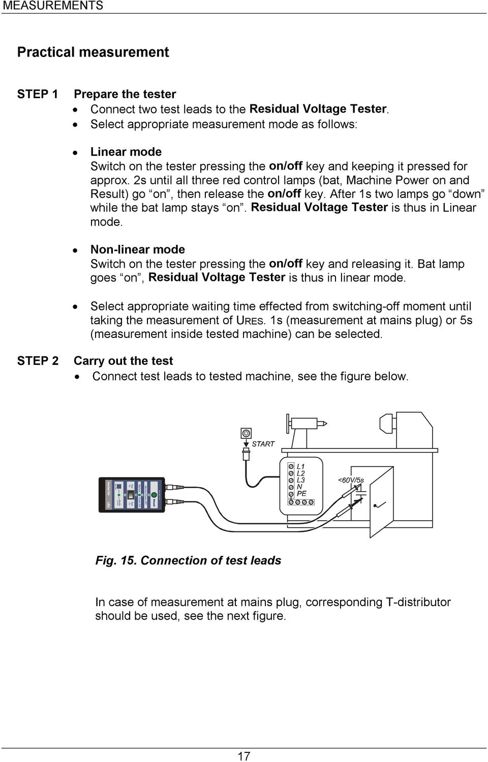 Operating Instructions Gebrauchsanleitung Machinetest 204 Low Mains Voltage Detector 2s Until All Three Red Control Lamps Bat Machine Power On And Result