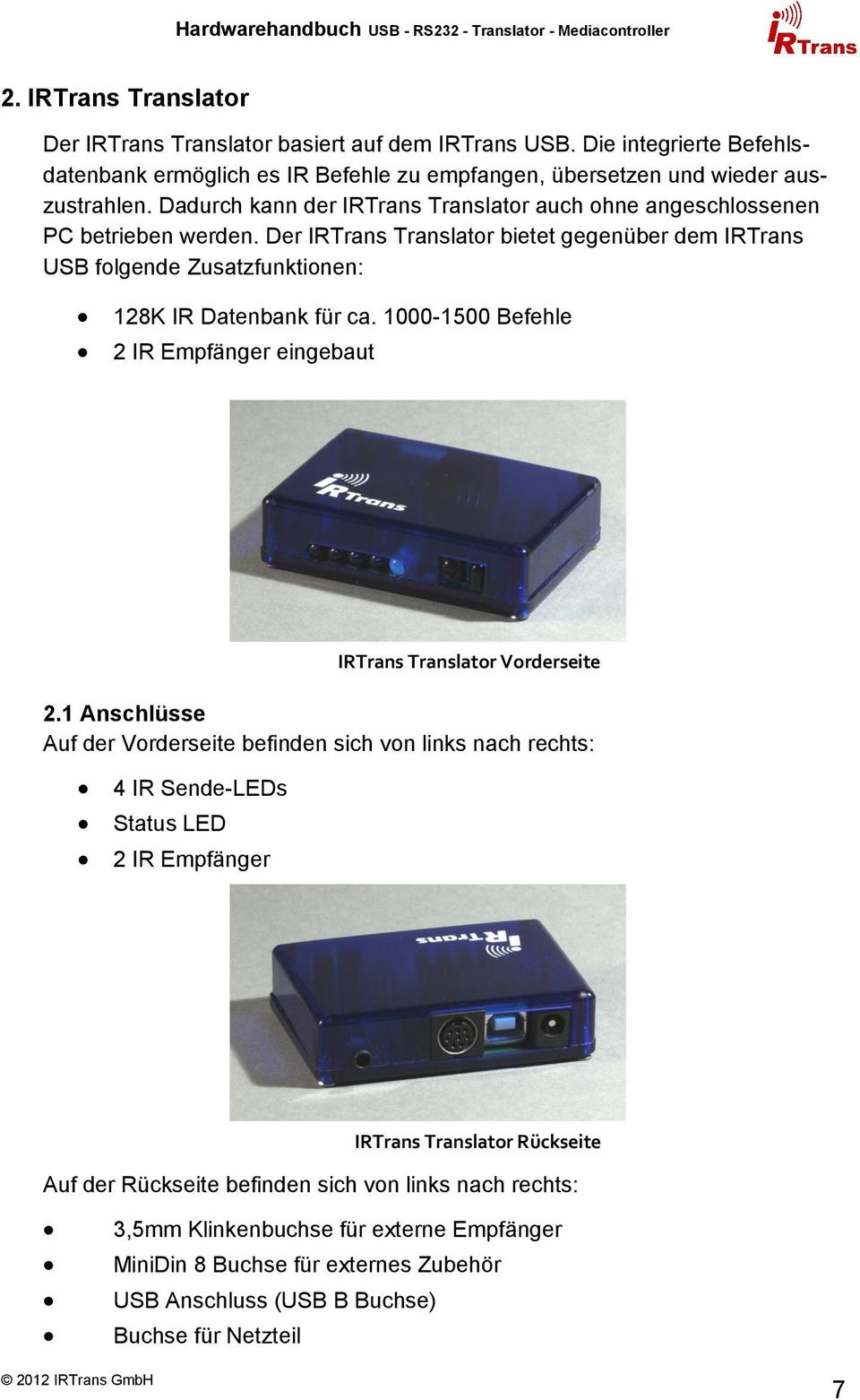 Hardwarehandbuch USB - RS232 - Mediacontroller - Translator - PDF