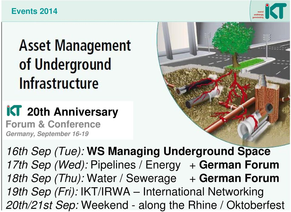 German Forum 18th Sep (Thu): Water / Sewerage + German Forum 19th Sep (Fri):