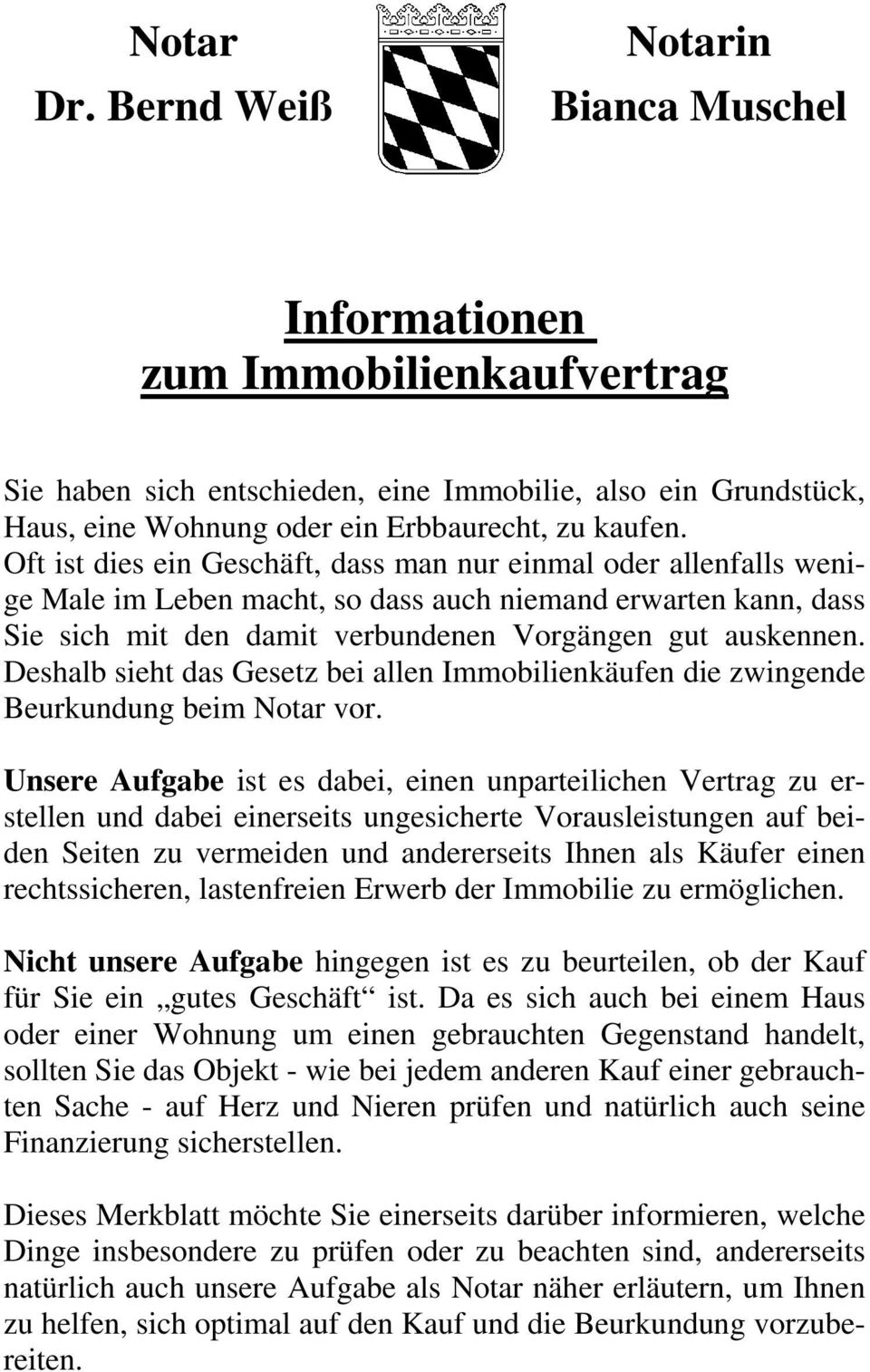 Informationen Zum Immobilienkaufvertrag Pdf