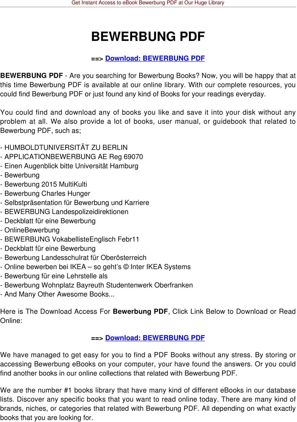 Get Instant Access To Ebook Bewerbung Pdf At Our Huge Library