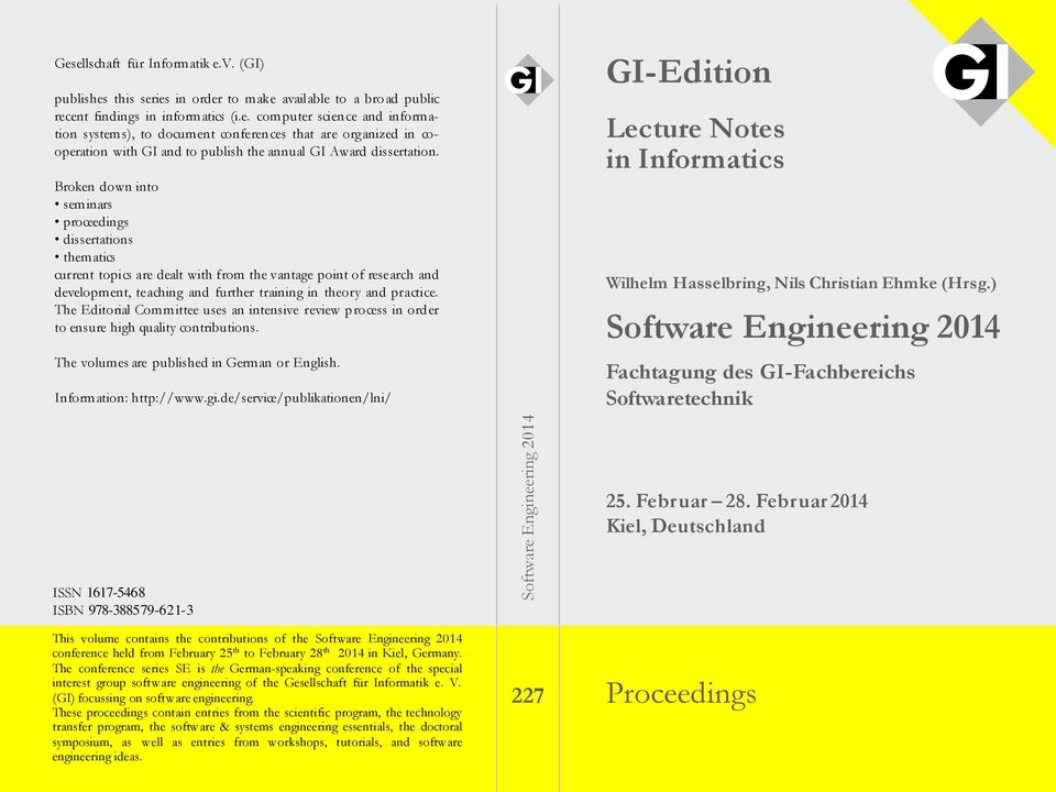 GI-Edition. Software Engineering Proceedings. Lecture Notes in ...