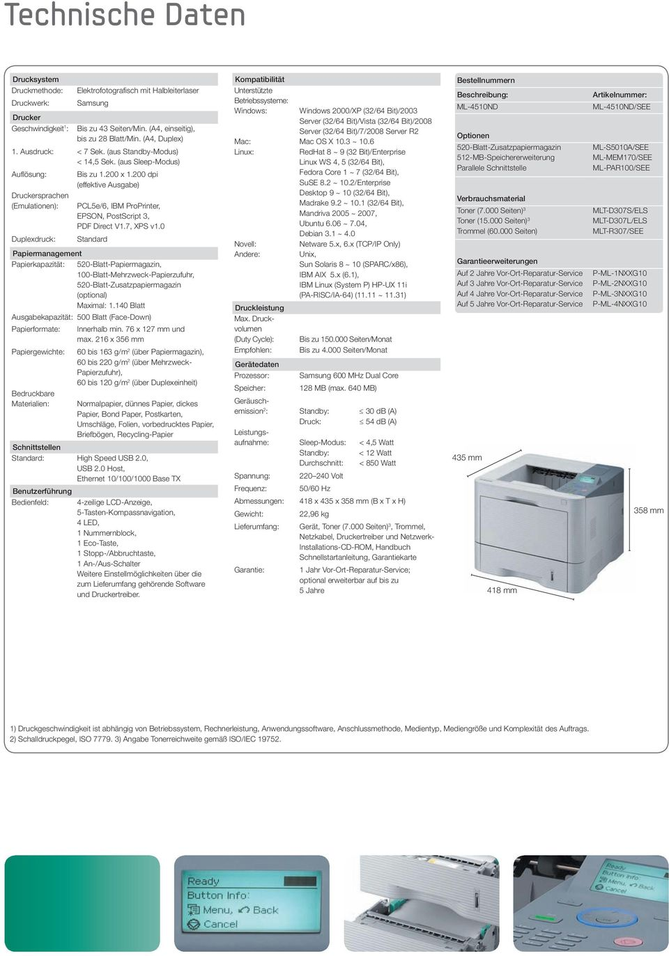 200 dpi (effektive Ausgabe) Druckersprachen (Emulationen): Duplexdruck: Papiermanagement Papierkapazität: PCL5e/6, IBM ProPrinter, EPSON, PostScript 3, PDF Direct V1.7, XPS v1.
