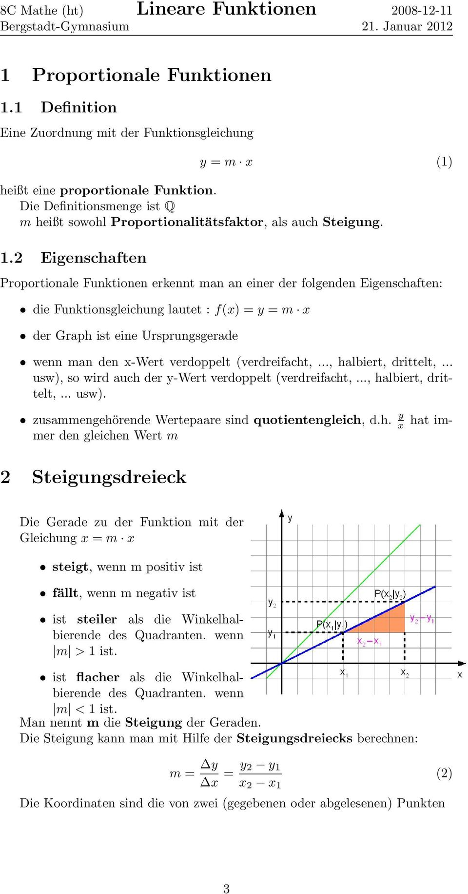 Lineare Funktionen. 1 Proportionale Funktionen Definition ...