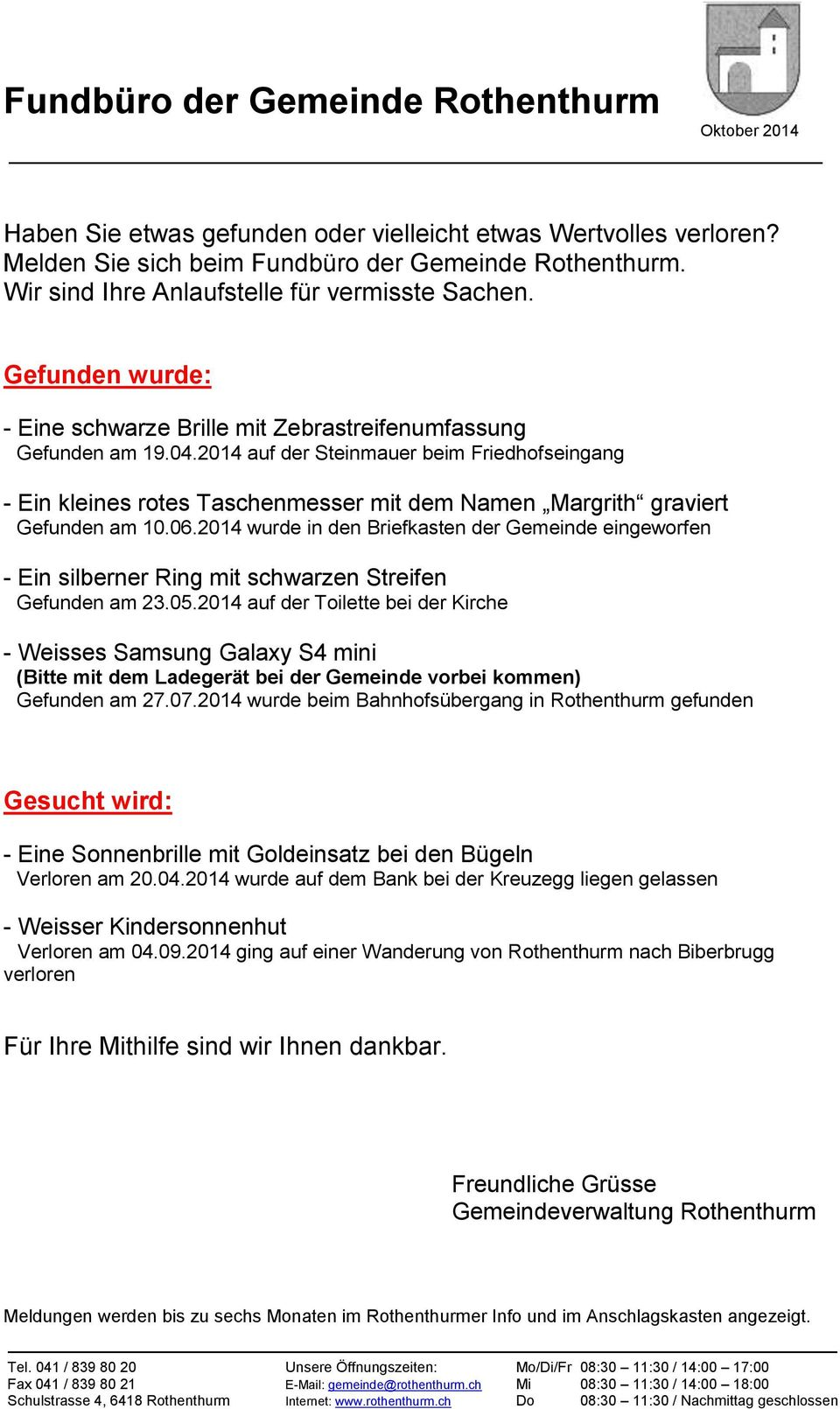 Rothenthurmer Info - Rothenthurm Tourismus