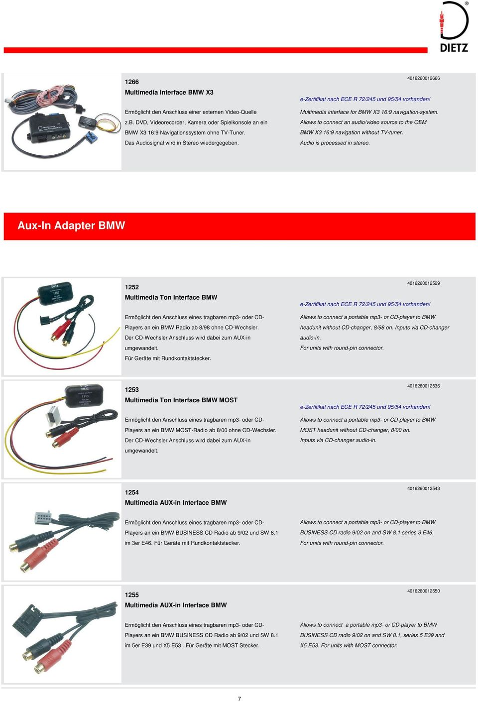 I N H A L T Alle Angaben Ohne Gewhr No Responsibility Can Be Car Dvd Radio Stereo Iso Cable 16 Pin Adapter For Panasonic 123 Allows To Connect An Audio Video Source The Oem Bmw X3 169