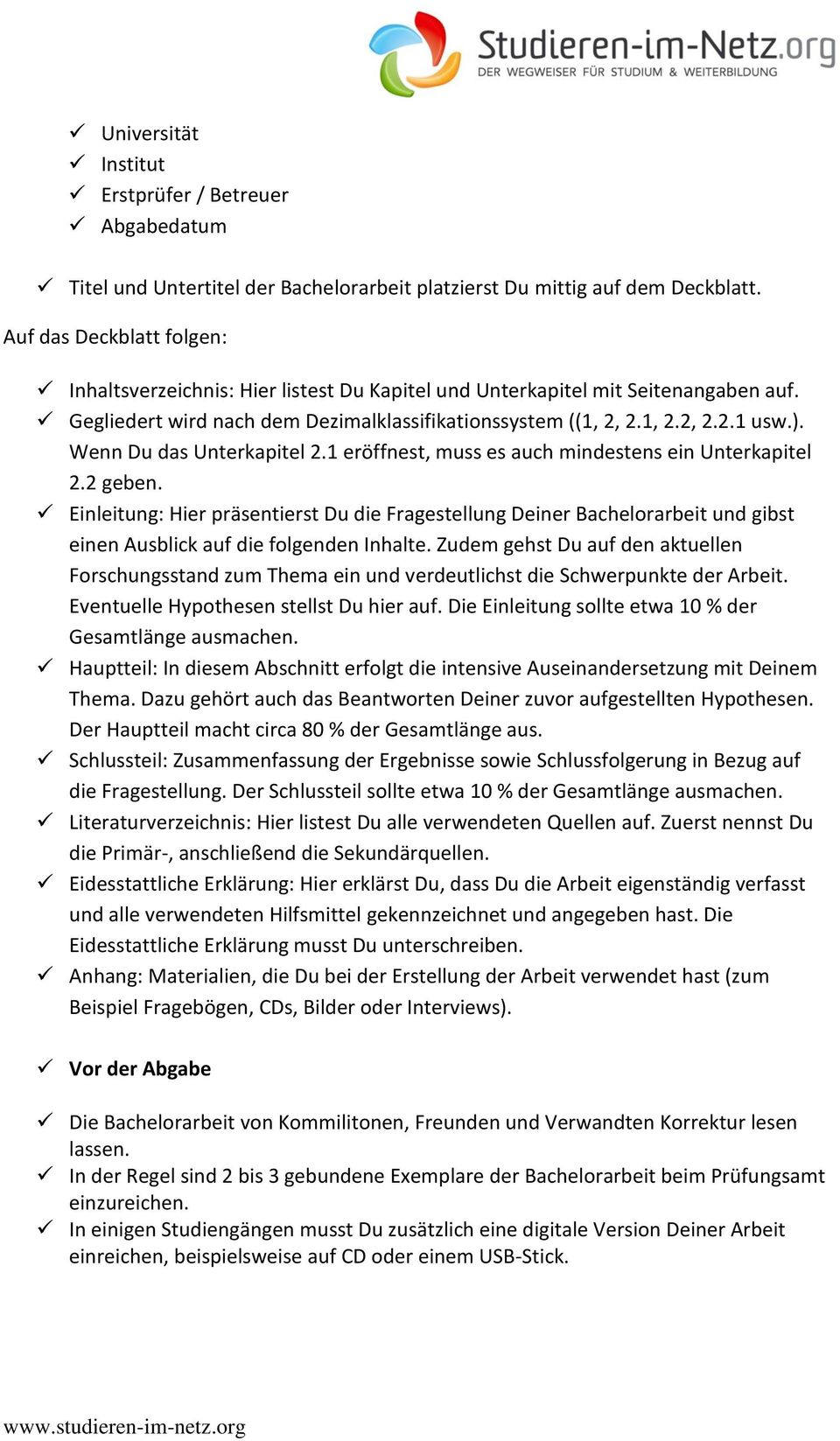 Checkliste Bachelorarbeit Pdf