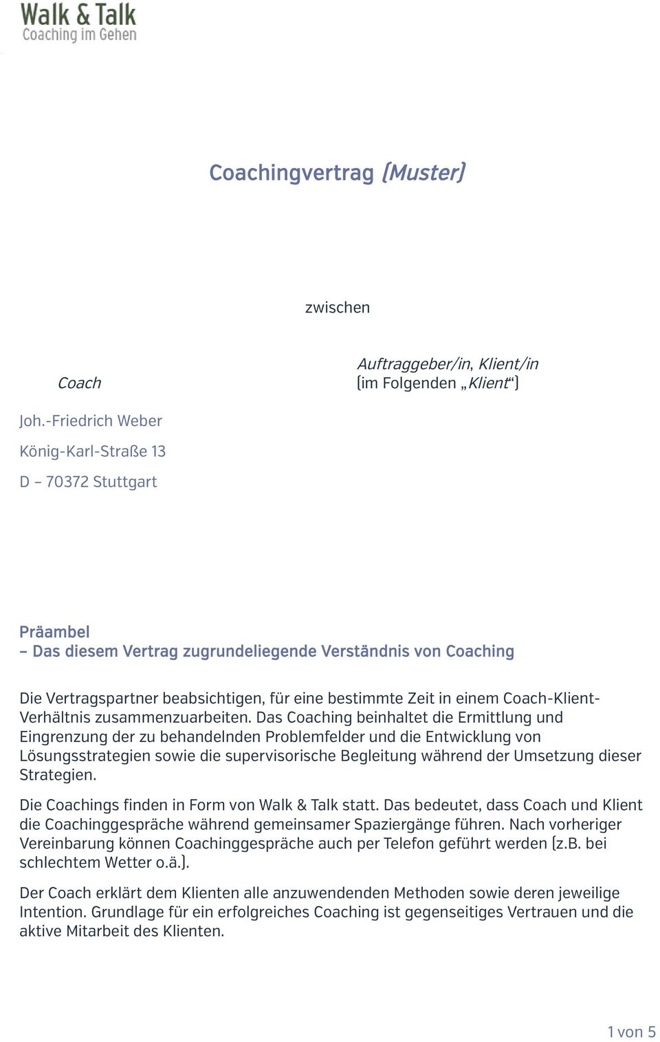 Coachingvertrag Muster Pdf