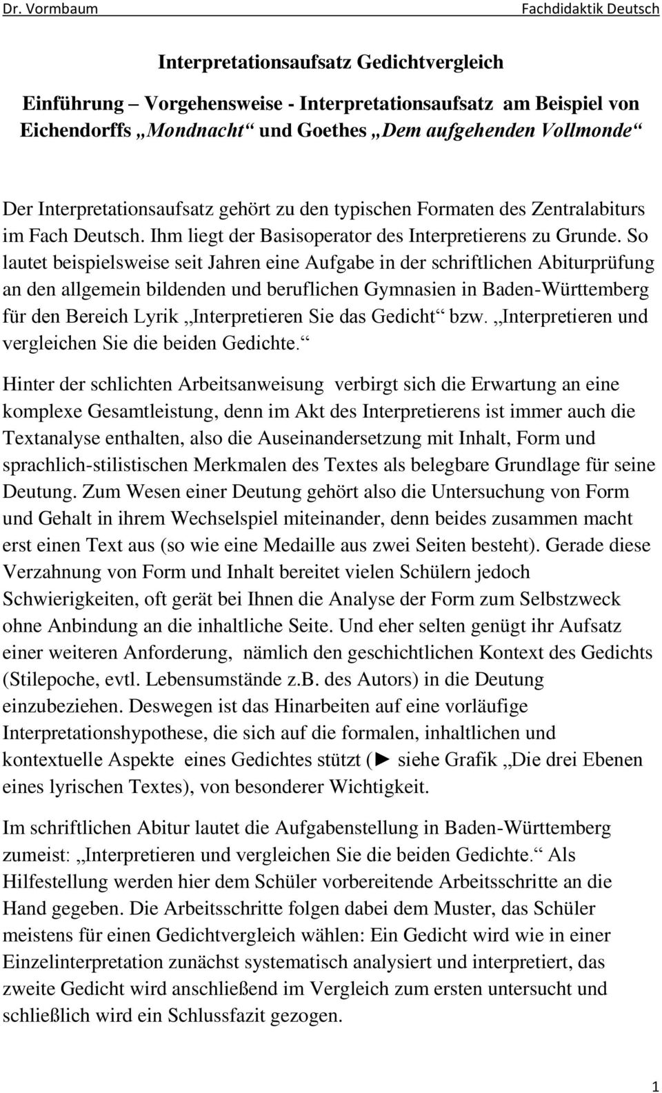 Interpretationsaufsatz Gedichtvergleich Pdf Free Download