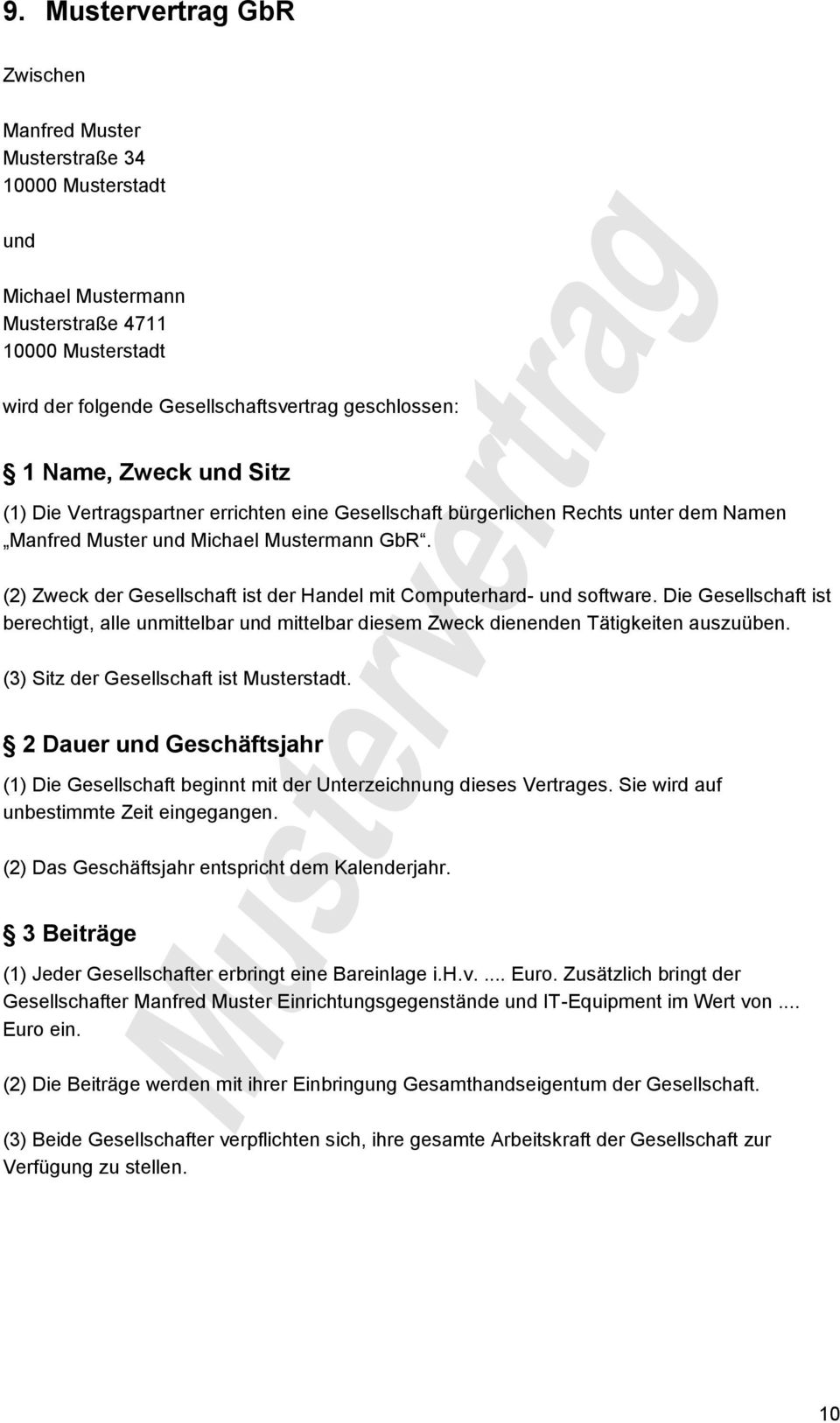 Mustervertrag Gbr Vertrag Pdf Free Download 8 2