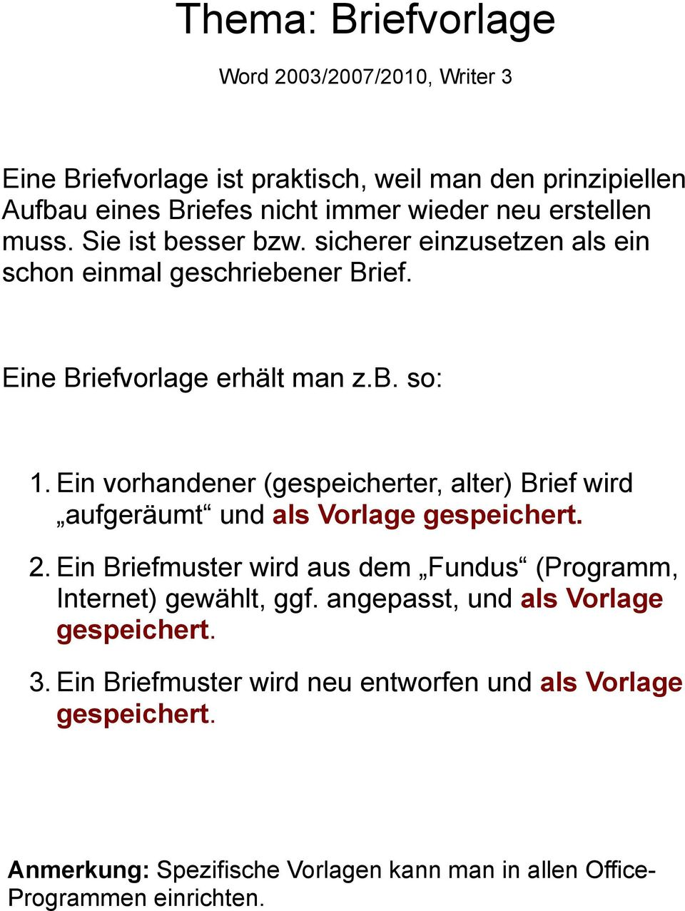 Thema Briefvorlage Word 200320072010 Writer 3 Pdf
