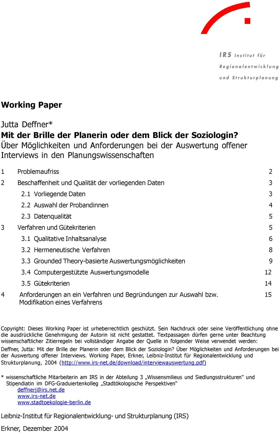 Working Paper. IRS Institut für - PDF